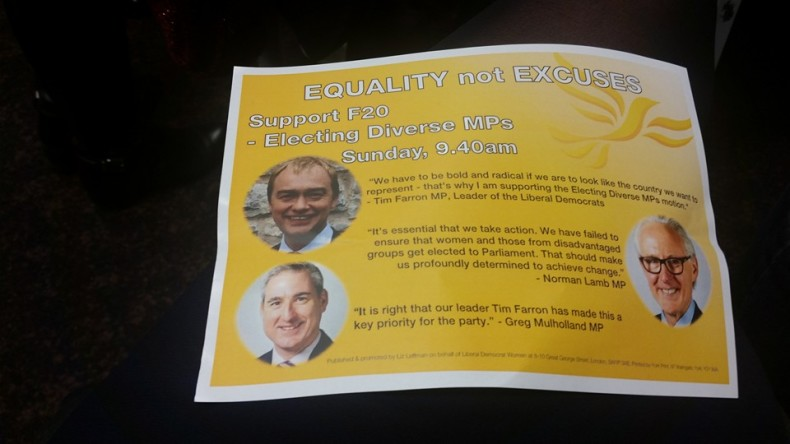 Lib Dem Women leaflet supporting all-women shortlists - front