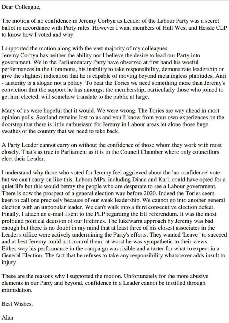 Alan Johnson email about Jeremy Corby and Remain campaign