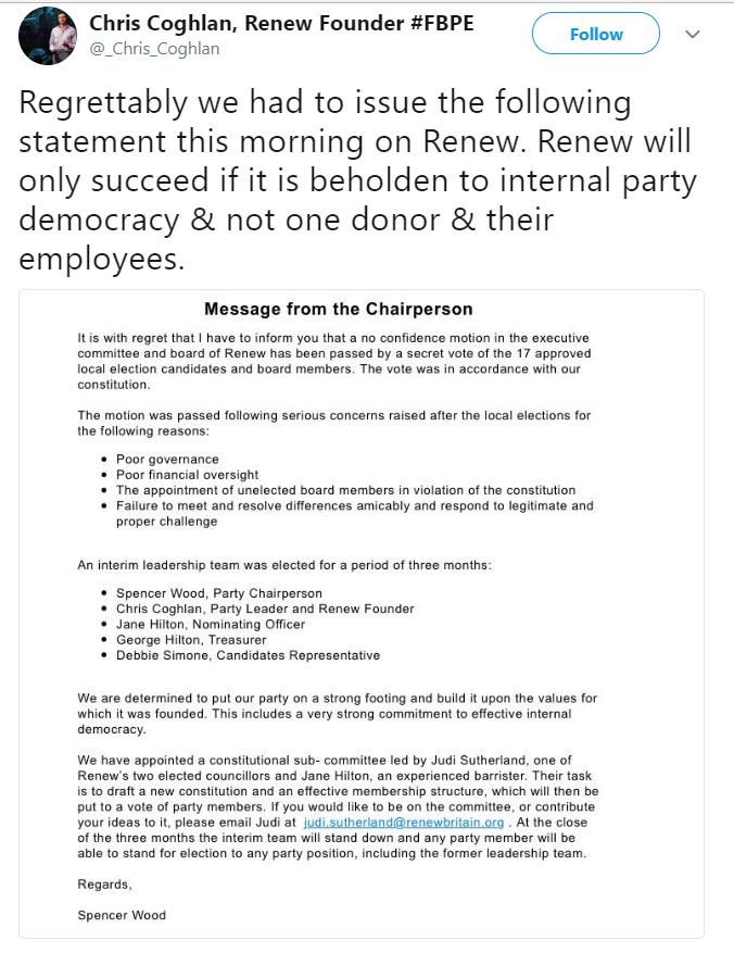 Chris Coglan tweet about Renew
